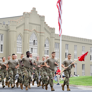 Cadets running on Move In Day