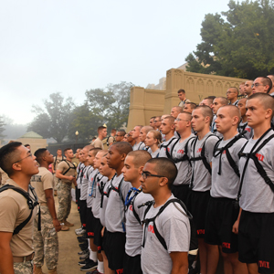 Cadets lined up for morning activities