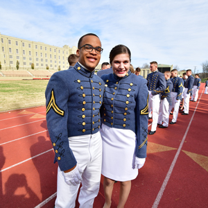 Cadets posing on the track after Ring Figure