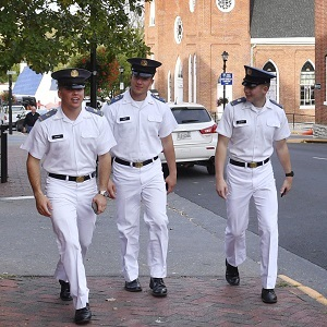 Cadets walking downtown