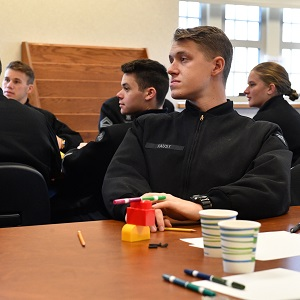 Cadet listening to presentation