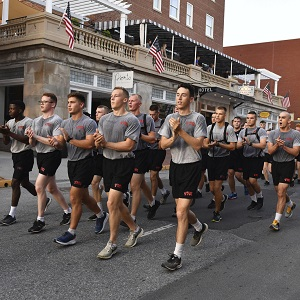 Cadets running for Jacob's ladder