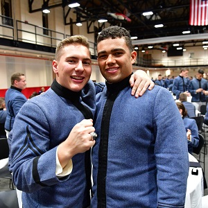 Two cadets posing at Class Supper