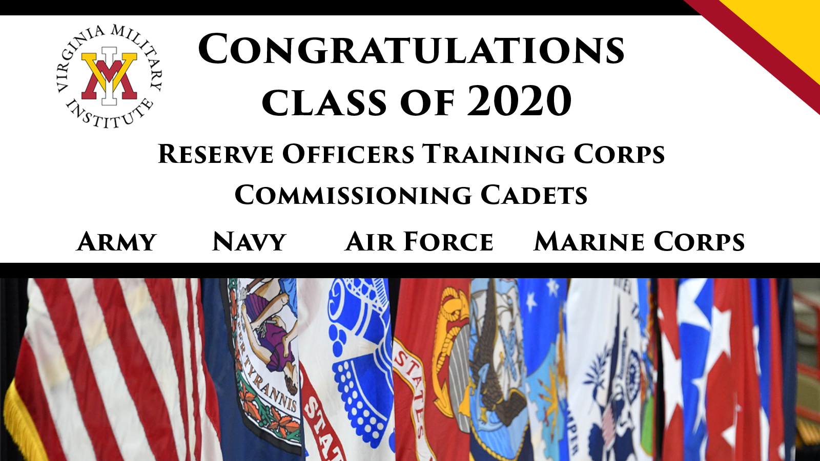 Congratulatory banner announcing officers commissioned from the ROTC Class of 2020