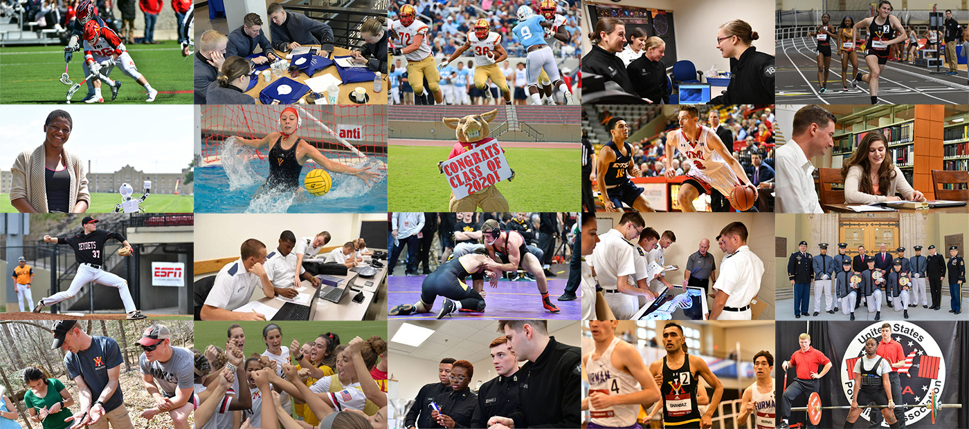 Collage of VMI Cadets winning athletic awards, participating in academic events, and on the sports field. Sports photos courtesy of VMI Athletics.