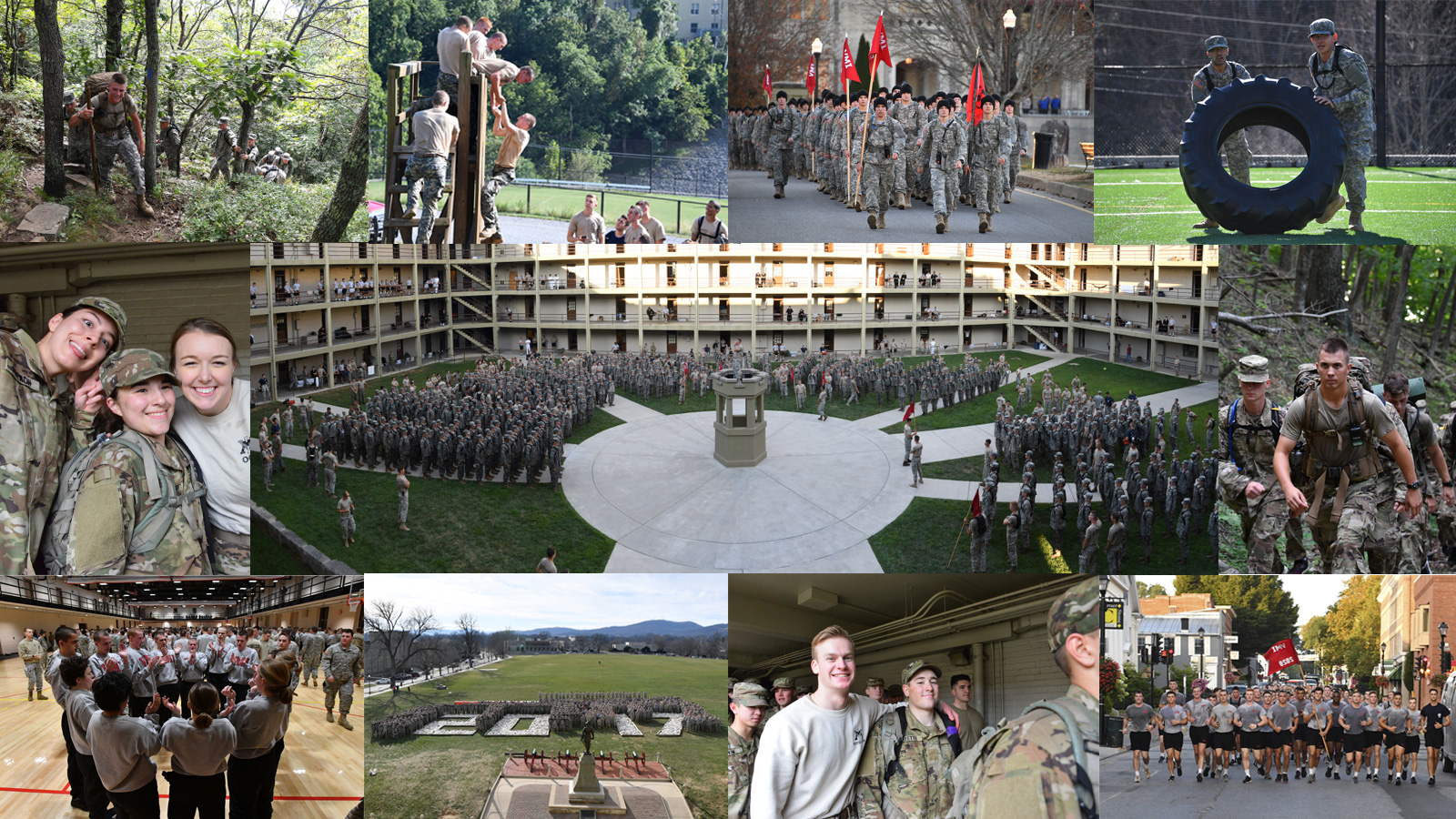 Collage of cadets participating in VMI events such as Breakout.