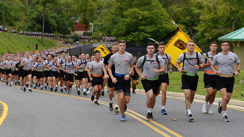 Cadets on the 9-11 run.