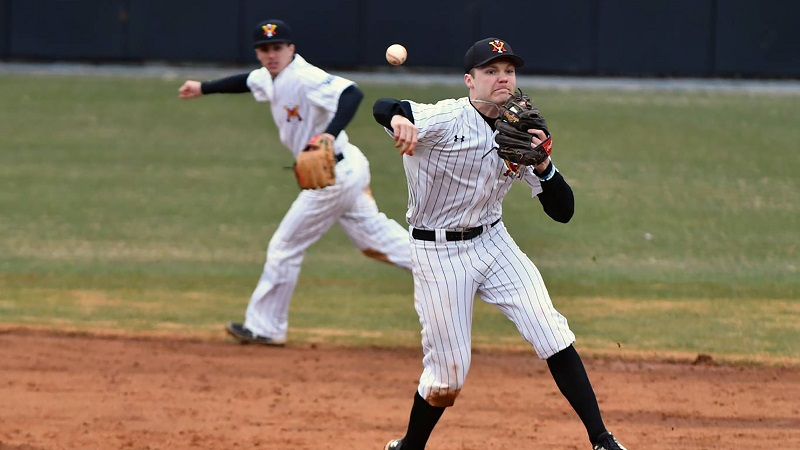 Senior Jacob Menders pitching. Photo from VMI Athletics