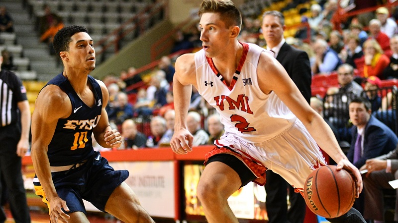 Senior Garrett Gilkeson playing basketball. Photo from VMI Athletics