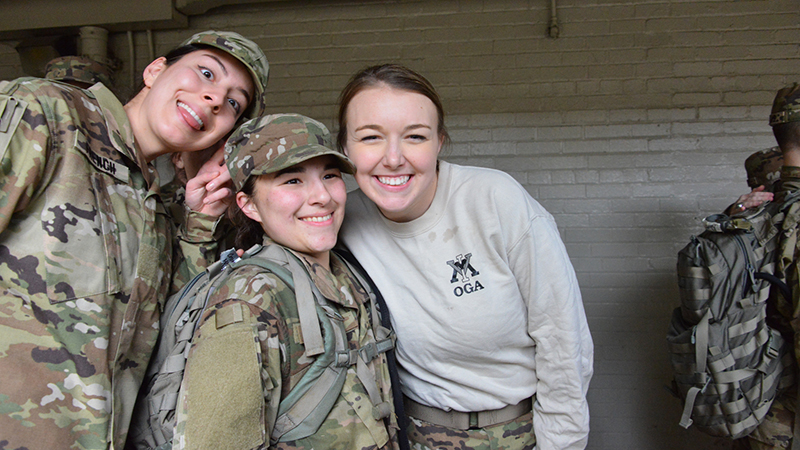 Female cadets celebrating culmination of Breakout.