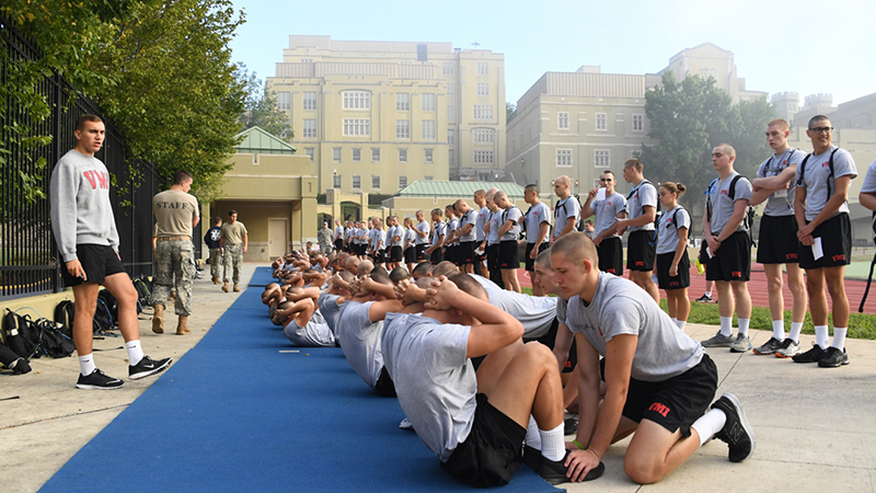 Cadets participating in fitness tests.