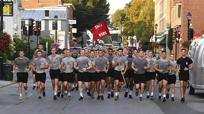 Cadets running through Lexington during Jacob's Ladder event.