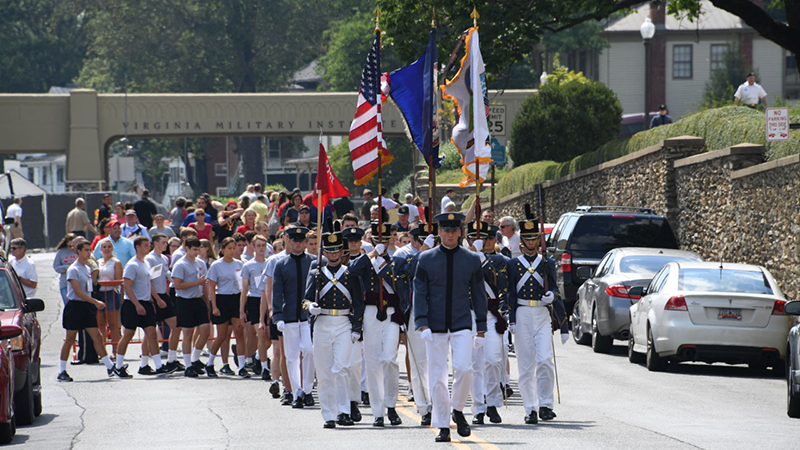Cadets marching during Meet Your Cadre events.