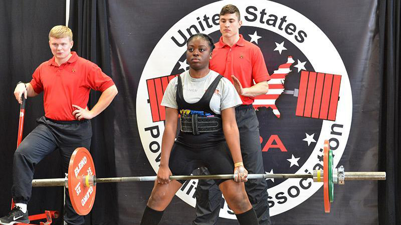 VMI powerlifting team member Holly-Guilaine Njabo '20 deadlifts 231 pounds during a match in Cocke Hall on Jan. 20.