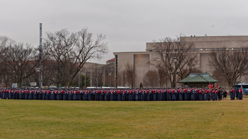 Cadets preparing to march in presidential inauguration.