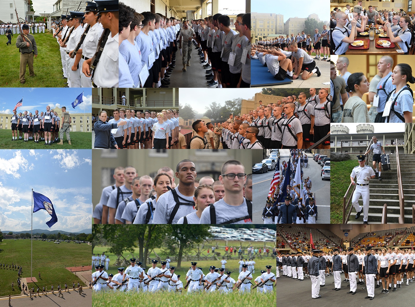 Collage of cadets participating in VMI events such as Matriculation and Move-in day.