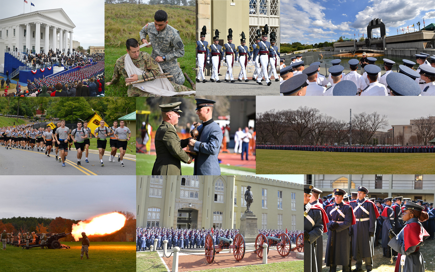 Collage of Cadets at traditional military and service-based events on and off Post.